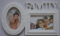 Фоторамка коллаж Family/Семья 2фото 10х15 бел/бронз.GK-6
