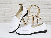 Туфли женские на тонкой подошве из натуральной кожи белого цвета. Туфли Т-17060