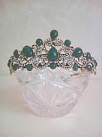 Корона под золото с зелеными камнями, диалдема, тиара, высота 4 см.