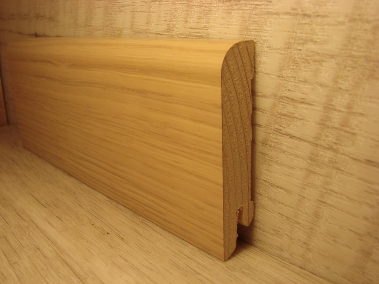 Плинтус деревянный напольный шпонированный Дуб белый 15*70*2400мм