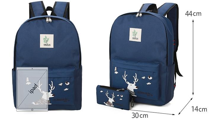 6e5ddfa2ada Школьный Рюкзак набор для повседневного использования Синий с Оленем 4в1