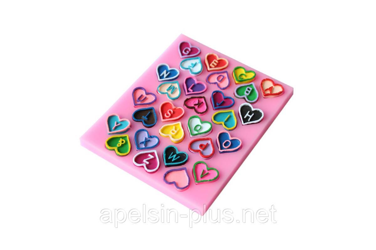 """Молд силиконовый """"Английский алфавит-сердечки"""" 12,3 см 9,8 см 9,5 см"""