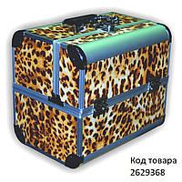 Чемодан бьюти-кейс раздвижной Леопардовый