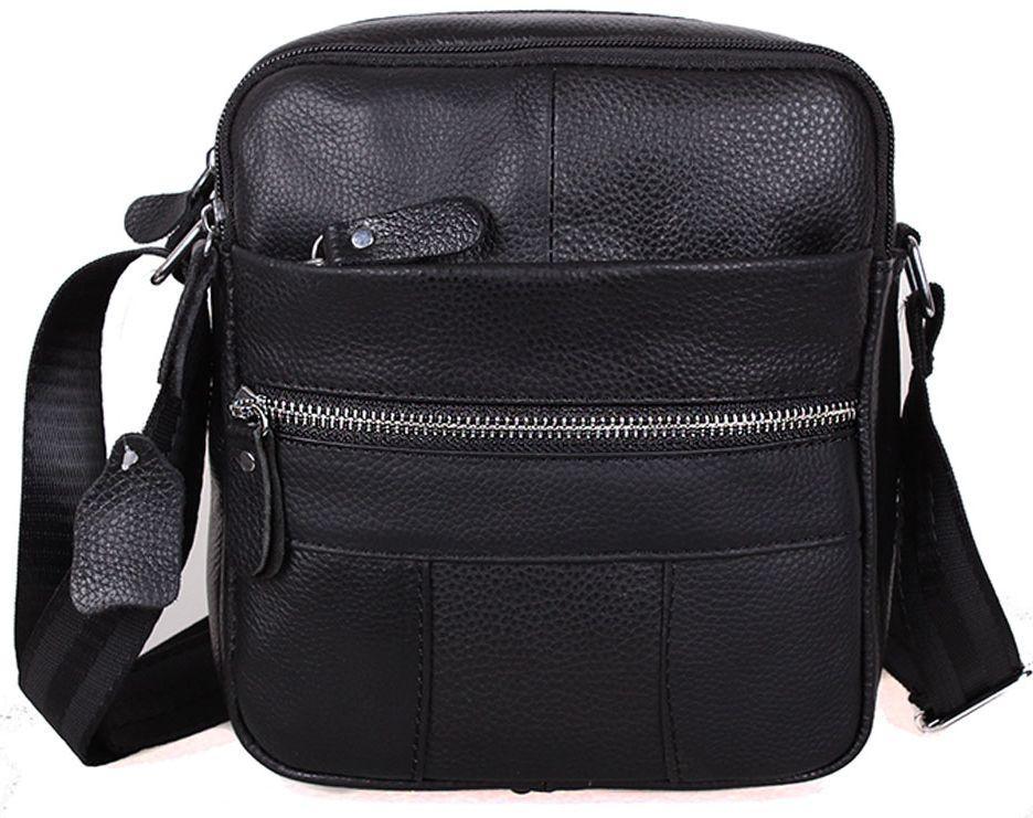 Шкіряна чоловіча сумка через плече BON-1020 BLACK чорна