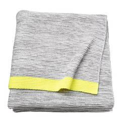 Плед, светло-серый, желтый, 130x170 см IKEA LISAMARI 803.537.76
