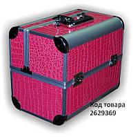 Бьюти-кейс раздвижной Розовый лаковый (крокодил)