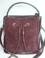Модная женская замшевая сумка с бантиком бордового цвета