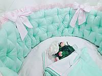 Бортики в круглую кроватку + комплект постельного белья , фото 1