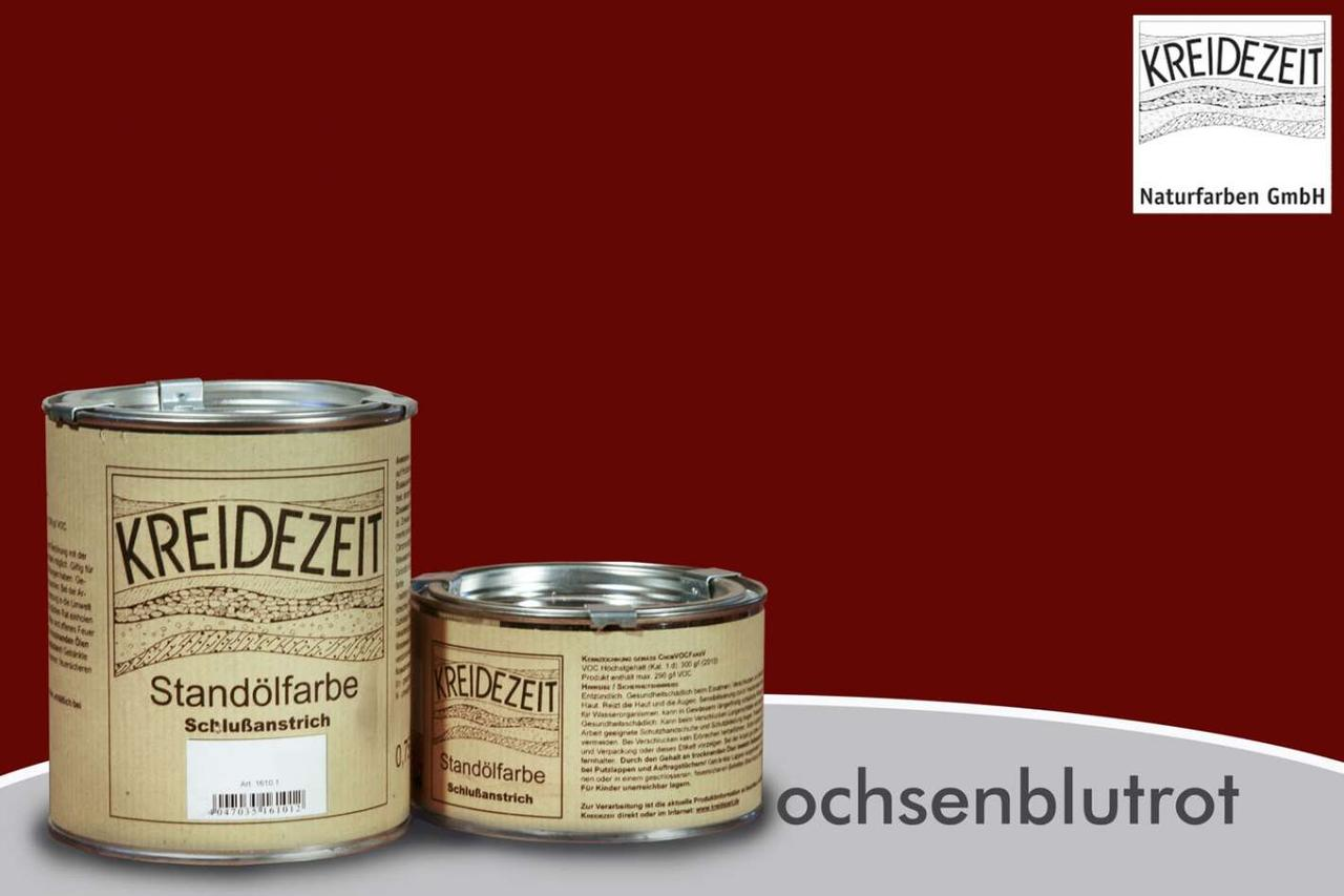 Стандолевая масляная краска жирная, верхний слой/Standölfarbe  Schlussanstrich ochsenblutr, бордовая 2,5 l