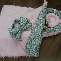 Кокон-гнездышко с узорчатым бантиком + конверт-плед + ортопедическая подушка, фото 1