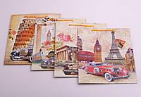 """Пакет подарочный бумажный """"Ретро авто"""", 18х23х16 см, в ассортименте"""