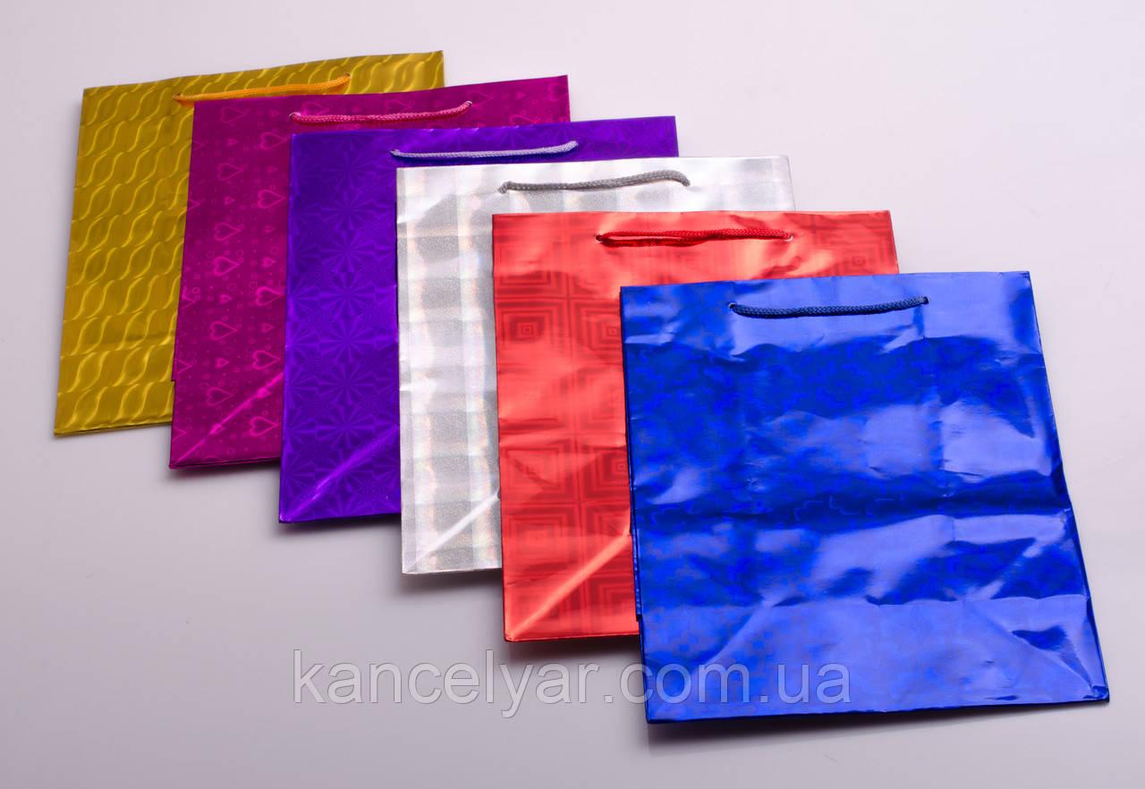"""Пакет подарочный бумажный """"Голограмма"""", 18х23х10 см, в ассортименте"""