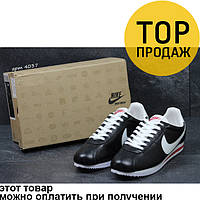 Мужские кроссовки Nike Cortez, черные с белым / кроссовки мужские Найк Кортез, кожаные, стильные