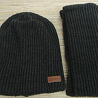 """Вязаный комплект подросток """"BEST"""" шапка на флисе + хомут, крупная вязка. р 54-56"""
