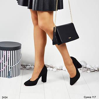 Идеальные замшевые туфли на каждый день. Удобная колодка на устойчивом каблуке, цвет-черный