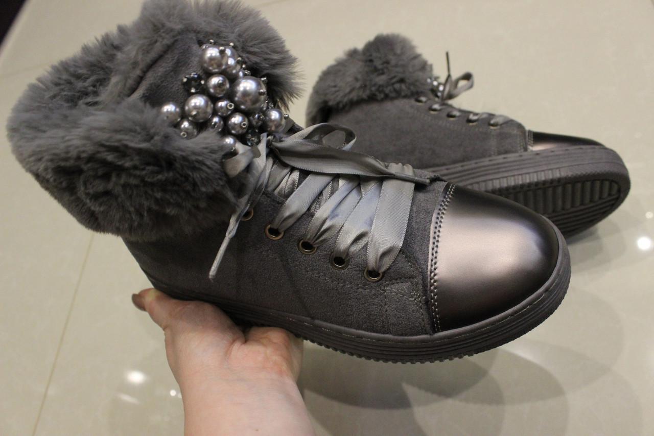 Женские зимние ботинки замш размер 38