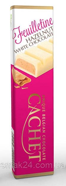 Шоколадный батончик Cachet  белый с хрустящей начинкой из лесного ореха 75г Бельгия