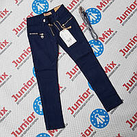 Подростковые котоновые брюки для девочек синего цвета оптом GRACE