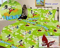 Стеганное покрывало, детское покрывало, Mickey Mouse green