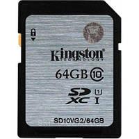 Карта памяти SDXC, 64Gb, Сlass10 UHS-I, 45MB/s, Kingston (SD10VG2/64GB)