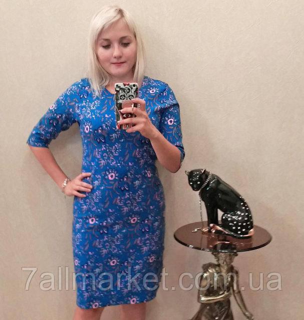 """Платье женское полубатальное с цветочным принтом, размеры 50-56 Серии """"Selta"""" купить оптом в Одессе на 7 км"""