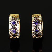 Необыкновенные серьги-колечки с фианитами оптом 91662 - фиолетовый