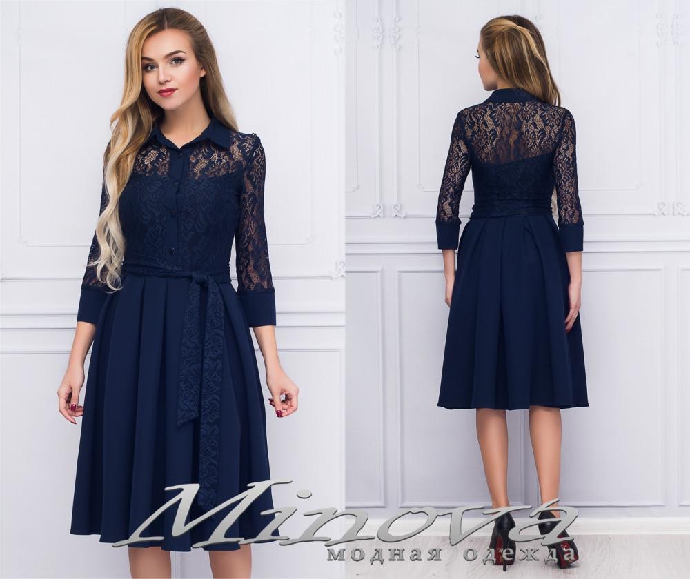 Нарядное женское платье с расклешенной юбкойи гипюровым верхом размер:50,52