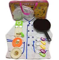 Набор Повар 2011-09 поварской китель, колпак, плита, тарелка, доска, сковородка в сумке