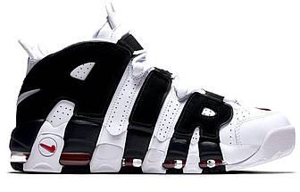 Женские и мужские кроссовки Nike Air More Uptempo White/Black, фото 3