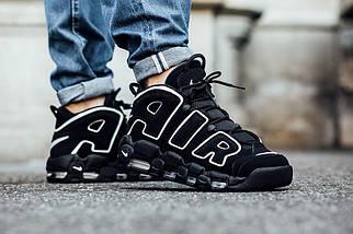 Мужские и женские кроссовки Nike Air More Uptempo Black/White, фото 2