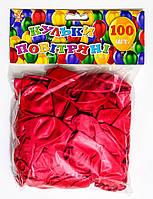 Шар воздушный 25 см перламутровый  красн. 100шт/уп