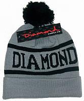 Серая шапка Diamond с чёрным помпоном