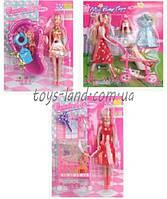 Кукла типа  Барби  10111/2/5 3 вида, с ребенком,  аксессуарами на планшетке 27, 5*36 см.