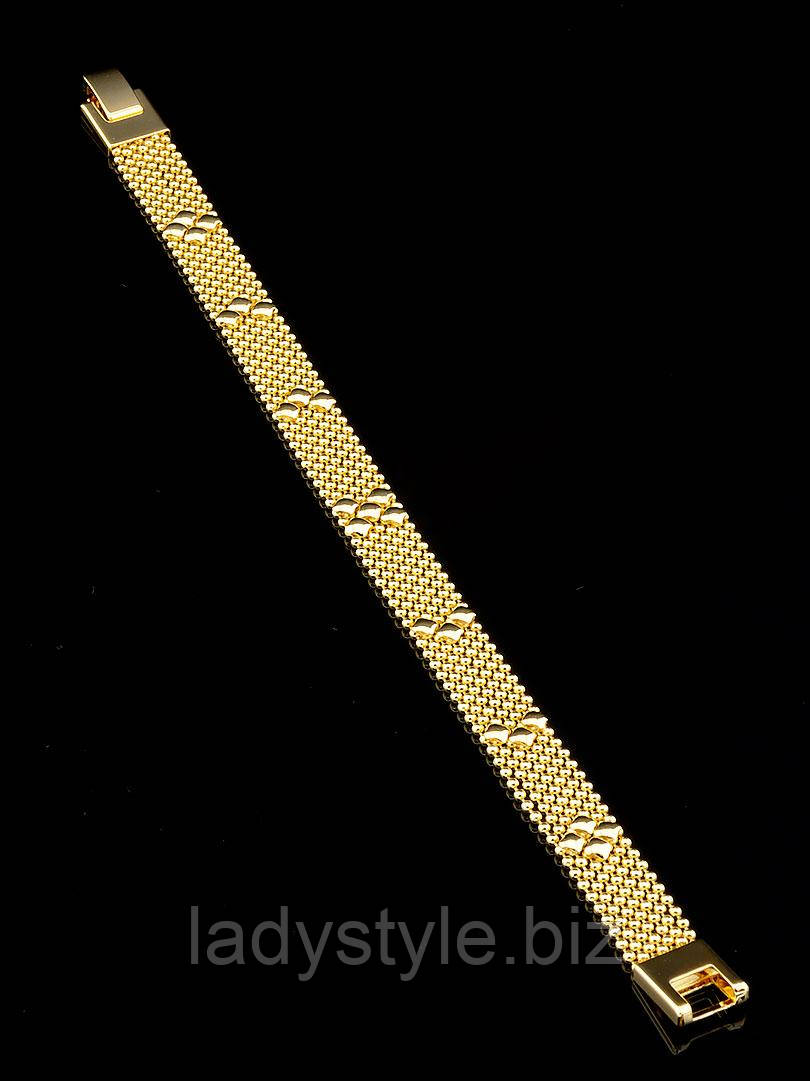 """Плетеный  позолоченный браслет   """"Золотой"""" от студии LadyStyle.Biz"""
