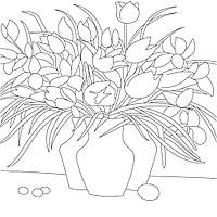 Холст с контуром Ваза с цветами (30см*30см) 950404 1 Вересня