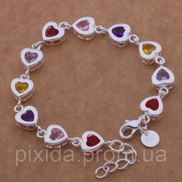 Браслет цветные сердечки покрытие 925 серебро проба