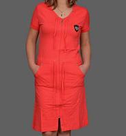 Женский халат хлопковый молодежный  платье домашнее на молнии (100% хлопок) сафари Украина