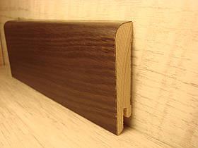 Плинтус деревянный напольный шпонированный Дуб копченый 15*70*2400мм