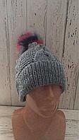 Вязаная шапка с ярким цветным помпоном, шерстяная вязаная шапка с бубоном,серая вязаная шапочка