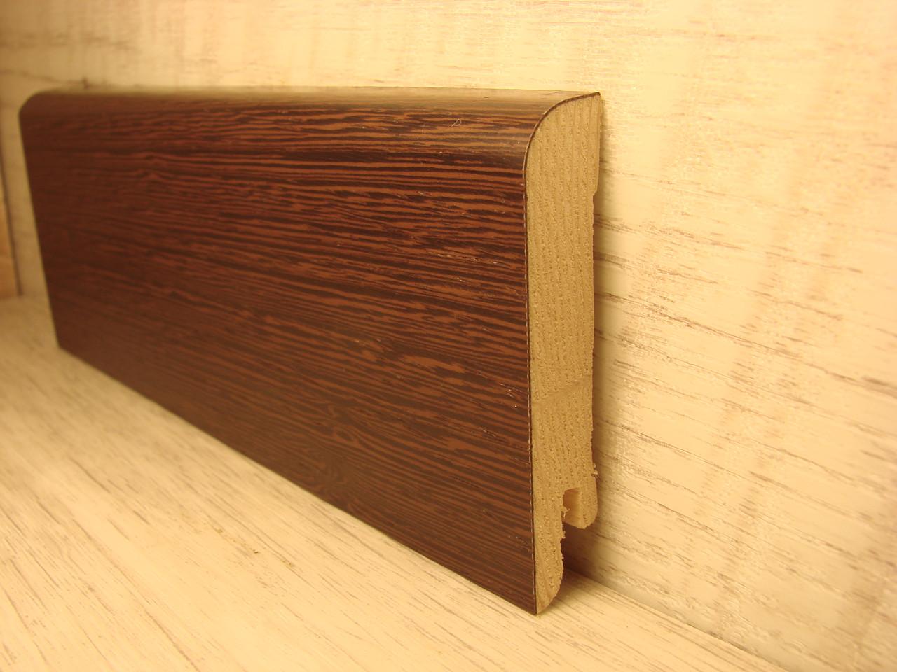 Плинтус деревянный напольный шпонированный Венге ориджинал 15*70*2400мм