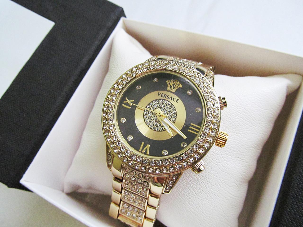 Супер стильные женские часы реплика Versace золото+черный циферблат -