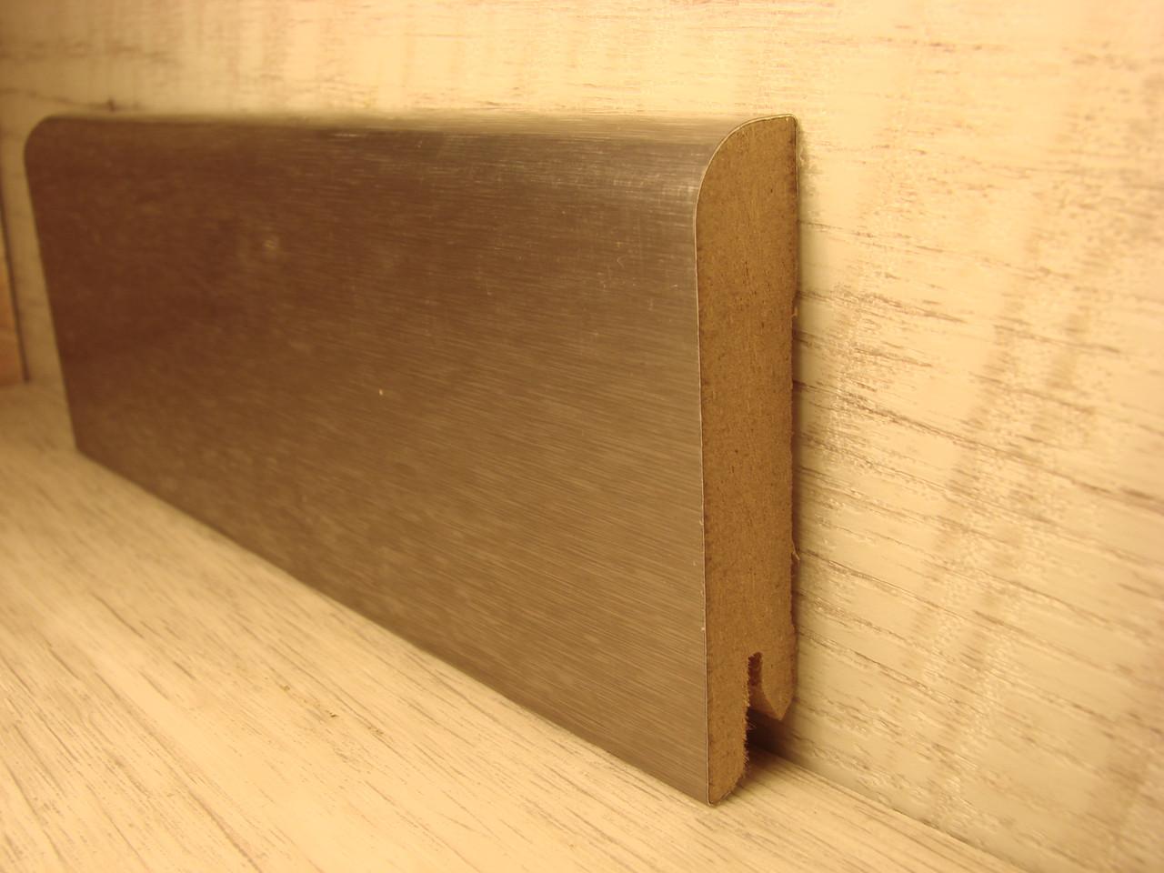 Плинтус деревянный напольный фольгированный Алюминий темный 15*70*2400мм