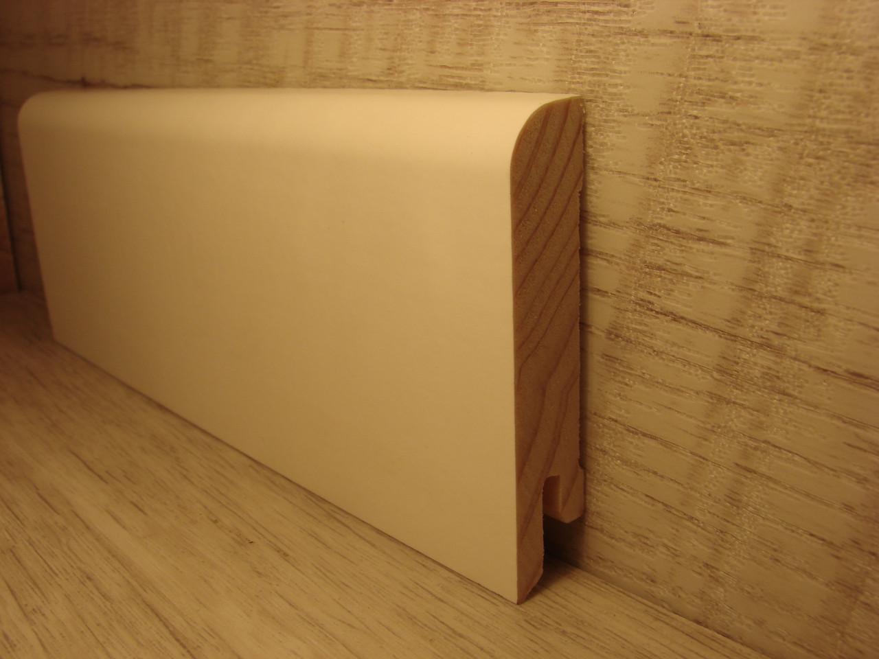 Плинтус деревянный напольный шпонированный Белый дуб RAL9010 15*70*2400мм