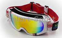 Очки горнолыжные  (акрил,пластик,PL,двойные линзы,антифог,цвет линз-хамелеон,оправа белая)