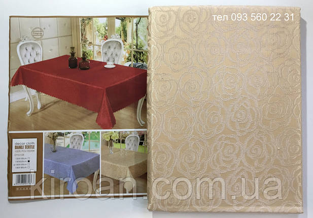 "Скатерть на стол ""Роза"" золотистая 145x205см , фото 2"