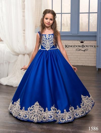 Платье синее длинное детское с большим бантом сзади. От года до 11 лет