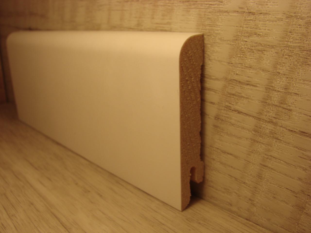 Плінтус дерев'яний підлоговий шпонований Білий дуб RAL9003 15*70*2400мм