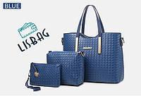 Женский набор сумок  на каждый день из качественной кожи PU  3в1, Синий цвет