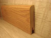 Плинтус деревянный напольный шпонированный Светлый тик 15*70*2400мм