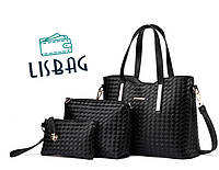 Женский набор сумок на каждый день из качественной кожи PU  3в1, Черный цвет